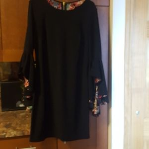 INC black reversible dress with bell sleeves